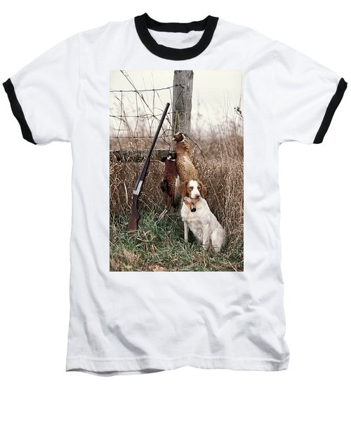 Brittany And Pheasants - Fs000757b Baseball T-Shirt by Daniel Dempster