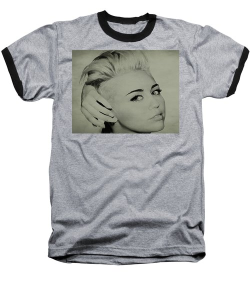 Baseball T-Shirt featuring the drawing Miley Cyrus  by Brian Reaves