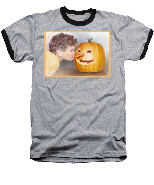Baseball T-Shirt featuring the painting Kissy Face by Bonnie Willis