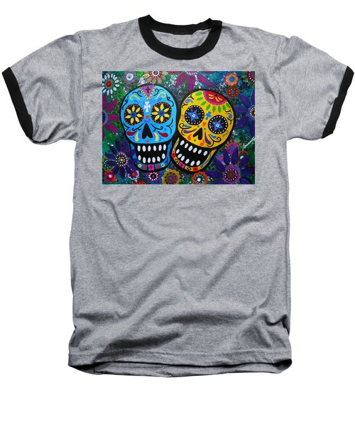 Couple Day Of The Dead Baseball T-Shirt by Pristine Cartera Turkus