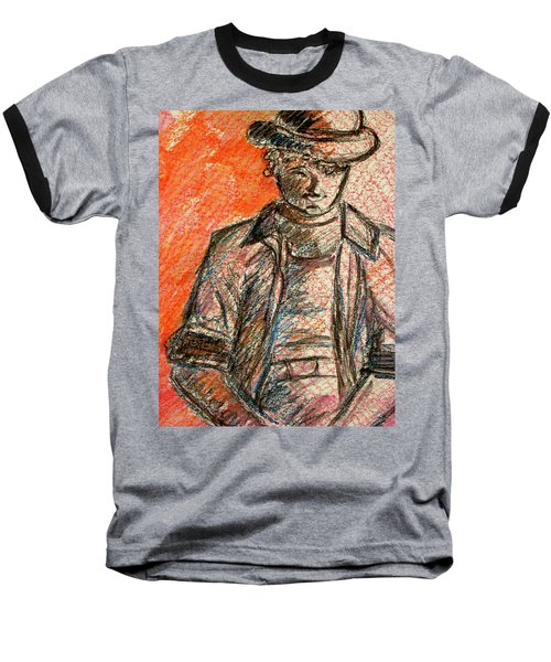 Baseball T-Shirt featuring the painting Boy In Red by Cathie Richardson
