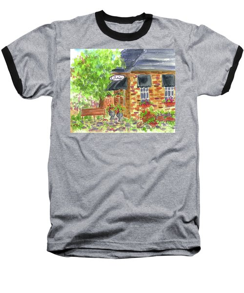Baseball T-Shirt featuring the painting Lila's Cafe by Cathie Richardson