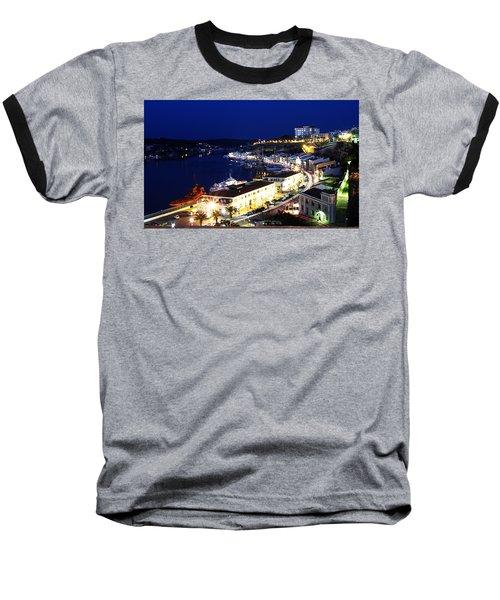 Baseball T-Shirt featuring the photograph Mahon Harbour At Night by Pedro Cardona