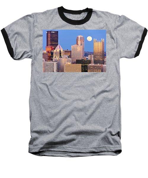 Moon Over Pittsburgh 2 Baseball T-Shirt by Emmanuel Panagiotakis