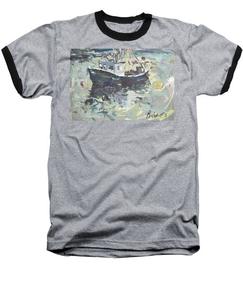 Baseball T-Shirt featuring the painting Original Lobster Boat Painting by Robert Joyner