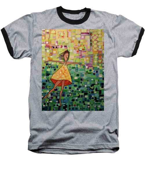 Baseball T-Shirt featuring the painting Spinning by Donna Howard