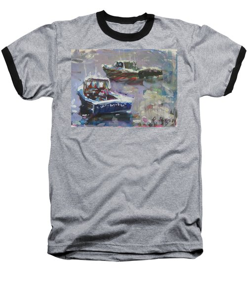 Baseball T-Shirt featuring the painting Two Lobster Boats by Robert Joyner