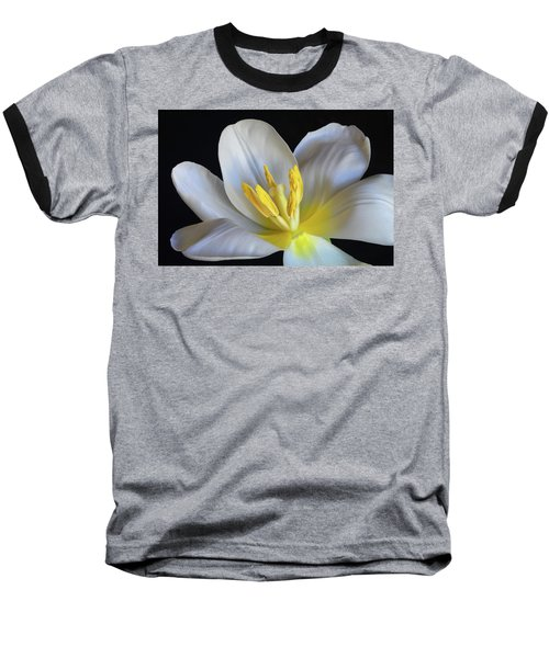 Baseball T-Shirt featuring the photograph Unfolding Tulip. by Terence Davis