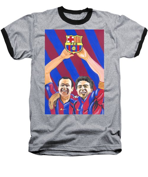 Xavi And Iniesta Baseball T-Shirt by Emmanuel Baliyanga