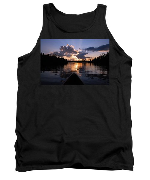 Evening Paddle On Spoon Lake Tank Top by Larry Ricker
