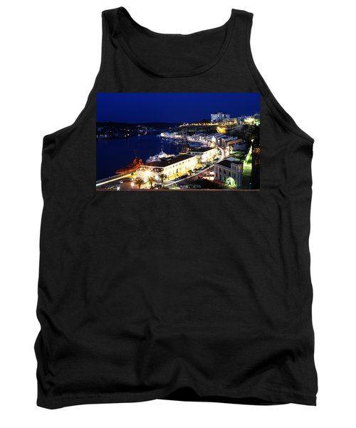 Tank Top featuring the photograph Mahon Harbour At Night by Pedro Cardona
