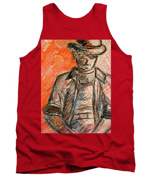 Tank Top featuring the painting Boy In Red by Cathie Richardson