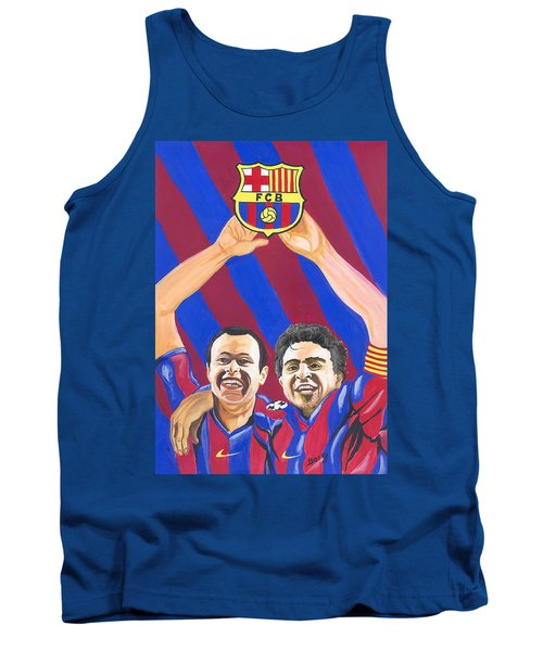 Tank Top featuring the painting Xavi And Iniesta by Emmanuel Baliyanga