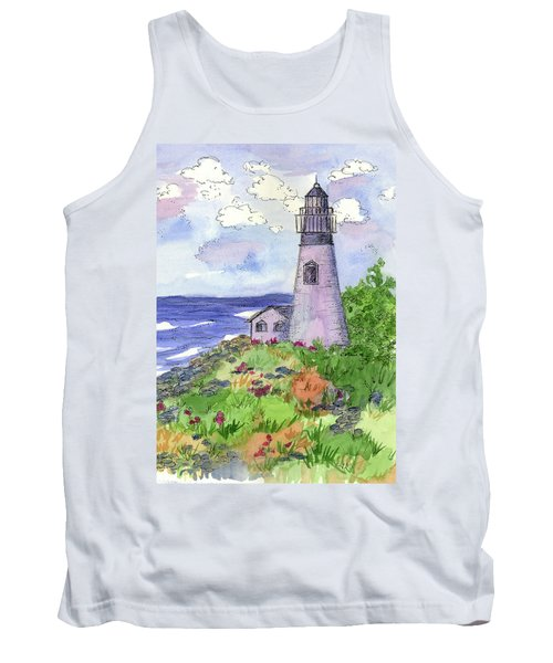 Tank Top featuring the painting Lighthouse In Summer  by Cathie Richardson