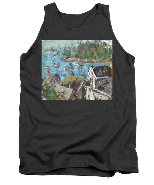 Original Modern Abstract Maine Landscape Painting Tank Top