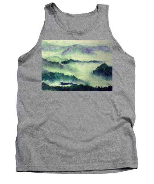 Tank Top featuring the painting Mountain Oriental Style by Yoshiko Mishina