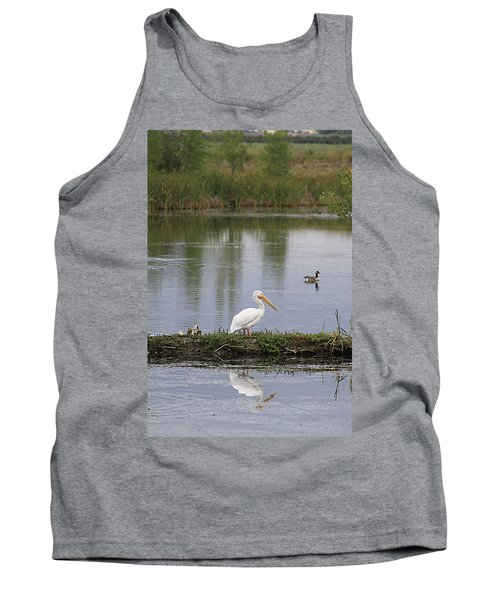 Tank Top featuring the photograph Pelican Reflection by Alyce Taylor