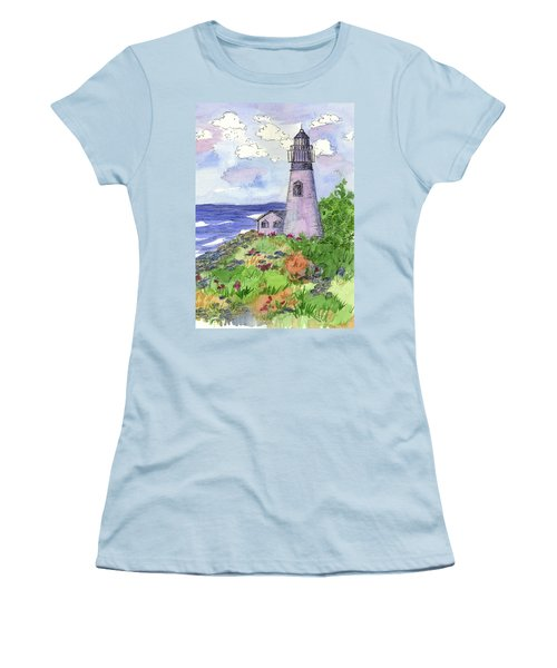 Women's T-Shirt (Junior Cut) featuring the painting Lighthouse In Summer  by Cathie Richardson