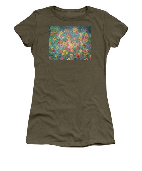 A Field Of Flowers Women's T-Shirt (Junior Cut) by John Keaton