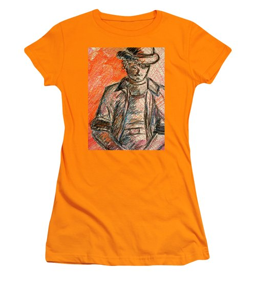 Women's T-Shirt (Junior Cut) featuring the painting Boy In Red by Cathie Richardson
