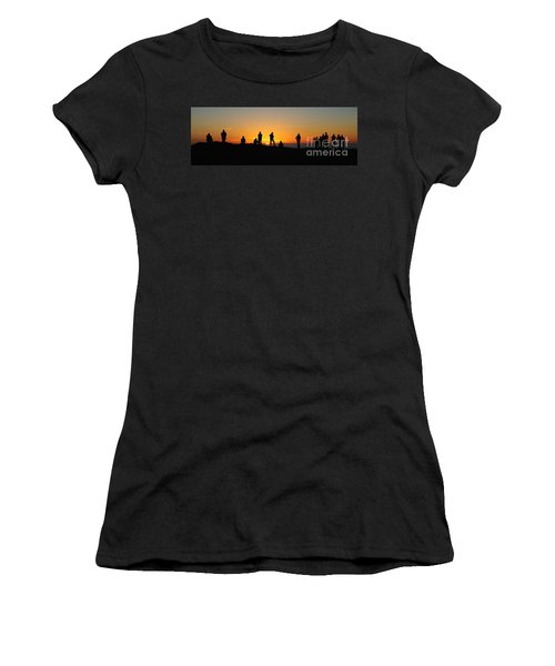 Women's T-Shirt (Junior Cut) featuring the photograph Panorama Everyone Likes A Sunset by Vivian Christopher