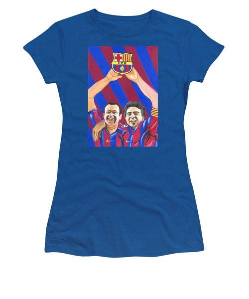 Women's T-Shirt (Junior Cut) featuring the painting Xavi And Iniesta by Emmanuel Baliyanga