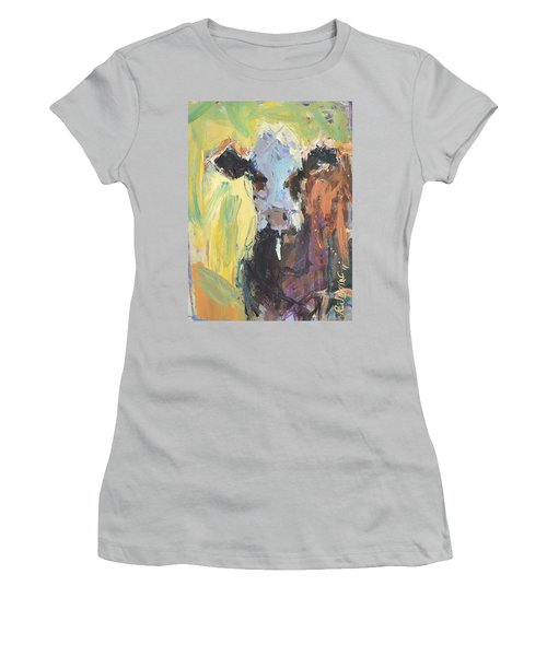 Women's T-Shirt (Junior Cut) featuring the painting Expressive Cow Artwork by Robert Joyner
