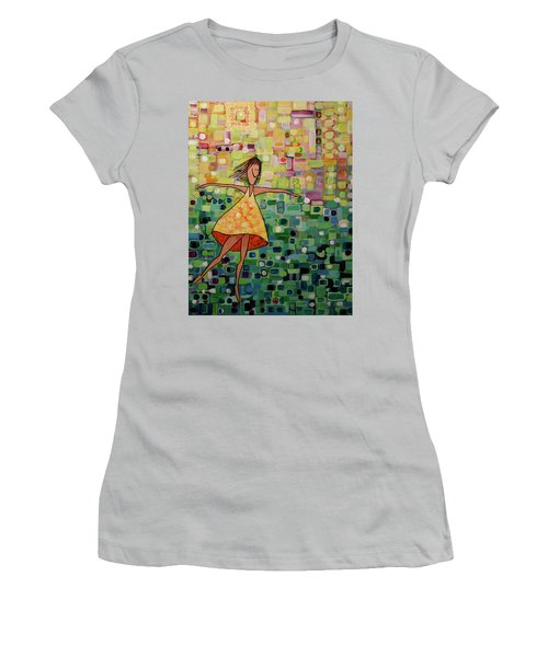 Women's T-Shirt (Junior Cut) featuring the painting Spinning by Donna Howard