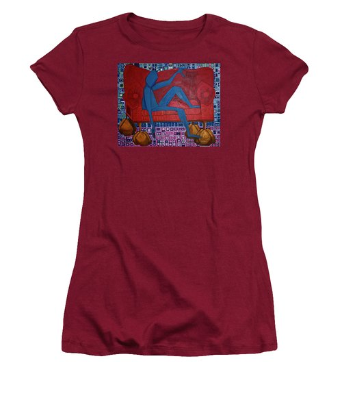 Women's T-Shirt (Junior Cut) featuring the painting Am I Blue by Donna Howard