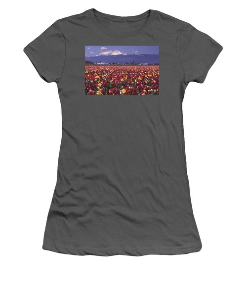 Field Of Tulips And Mount Baker Women's T-Shirt (Athletic Fit)