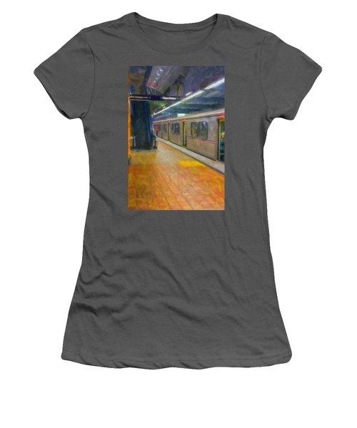 Women's T-Shirt (Junior Cut) featuring the photograph Hollywood Subway Station by David Zanzinger
