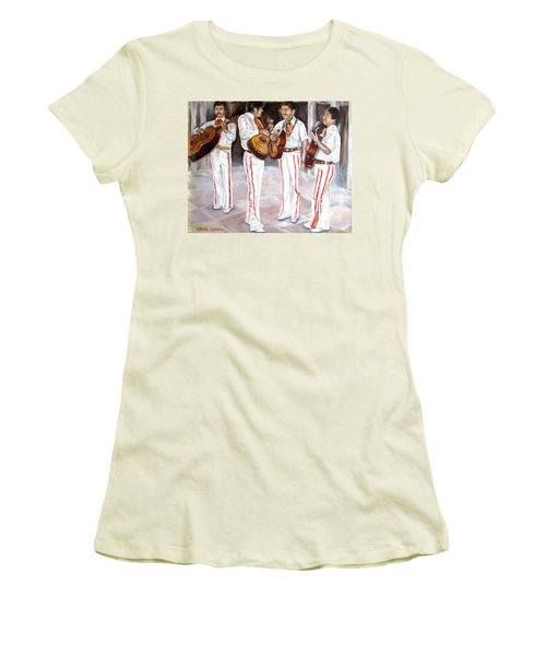 Women's T-Shirt (Junior Cut) featuring the painting Mariachi  Musicians by Carole Spandau