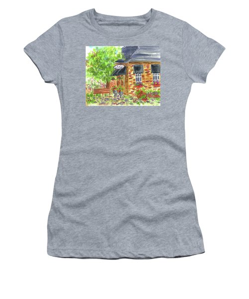 Women's T-Shirt (Junior Cut) featuring the painting Lila's Cafe by Cathie Richardson