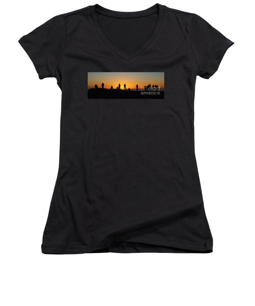 Panorama Everyone Likes A Sunset Women's V-Neck T-Shirt (Junior Cut) by Vivian Christopher