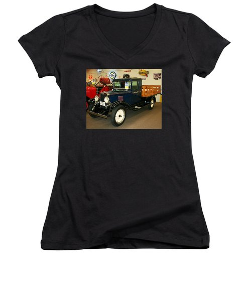 Women's V-Neck T-Shirt (Junior Cut) featuring the photograph 1930 Chevrolet Stake Bed Truck by John Black