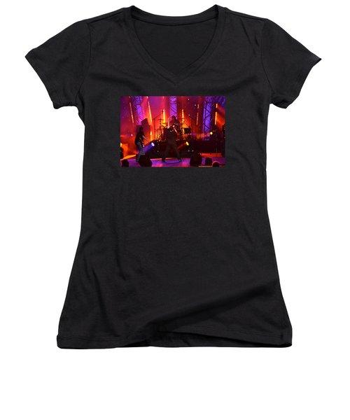 Women's V-Neck T-Shirt (Junior Cut) featuring the photograph 2u A Tribute To U2 by Carol  Bradley