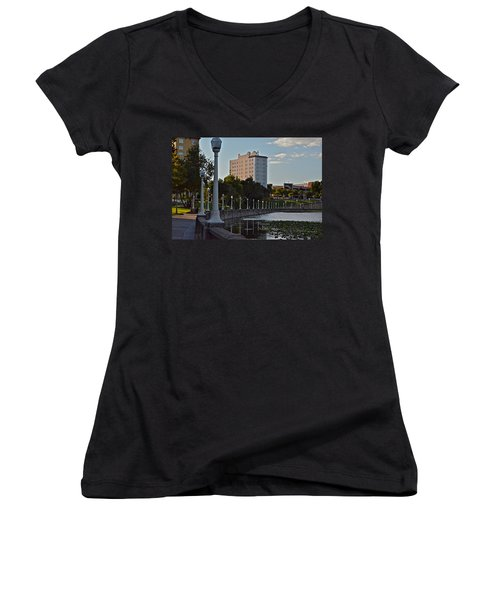 Beautiful Downtown Lakeland Women's V-Neck T-Shirt