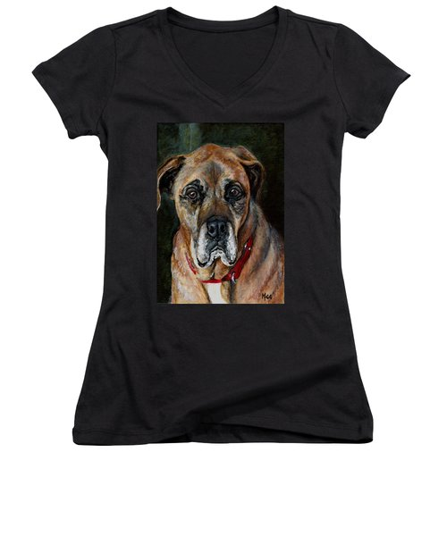 Boo For Dogtown Women's V-Neck T-Shirt (Junior Cut) by Mary-Lee Sanders