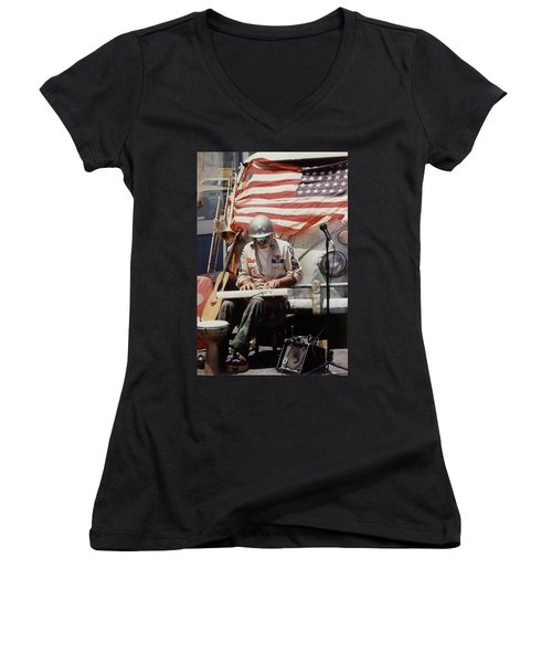 Women's V-Neck T-Shirt (Junior Cut) featuring the photograph Born In The Usa by Mary-Lee Sanders