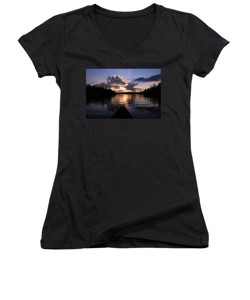 Evening Paddle On Spoon Lake Women's V-Neck T-Shirt (Junior Cut) by Larry Ricker
