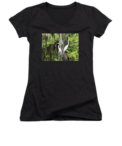 Great White Egrets Women's V-Neck T-Shirt