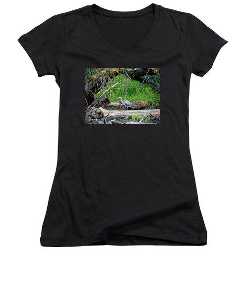 Heron Habitat Women's V-Neck T-Shirt (Junior Cut) by Sue Stefanowicz