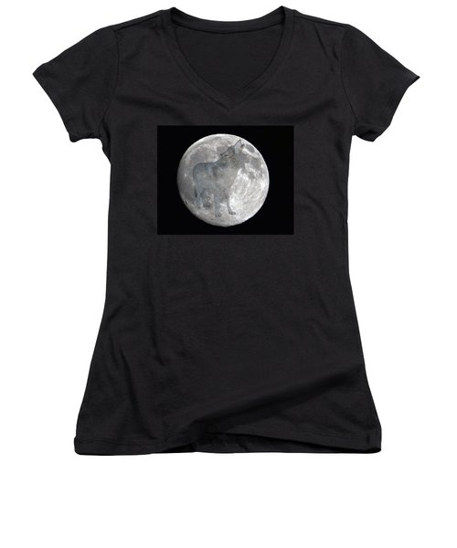 Howl At The Moon Women's V-Neck (Athletic Fit)