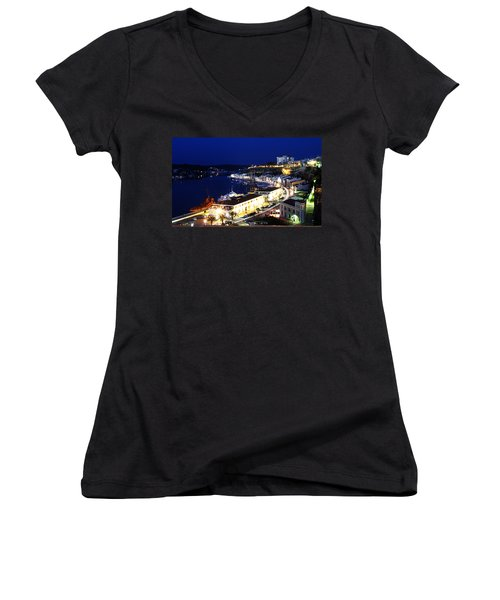 Women's V-Neck T-Shirt (Junior Cut) featuring the photograph Mahon Harbour At Night by Pedro Cardona