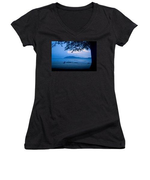 Strolling Surfer Women's V-Neck T-Shirt (Junior Cut) by Todd Breitling