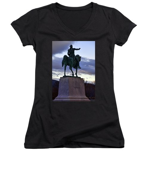 Washington Monument At West Point Women's V-Neck T-Shirt