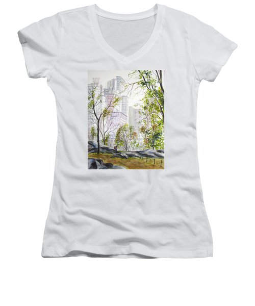 Central Park Stroll Women's V-Neck T-Shirt (Junior Cut)