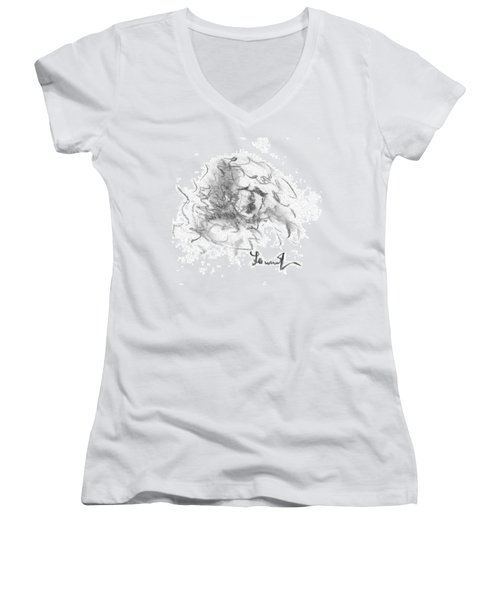 Women's V-Neck T-Shirt (Junior Cut) featuring the drawing Question Of The Heart by Laurie L