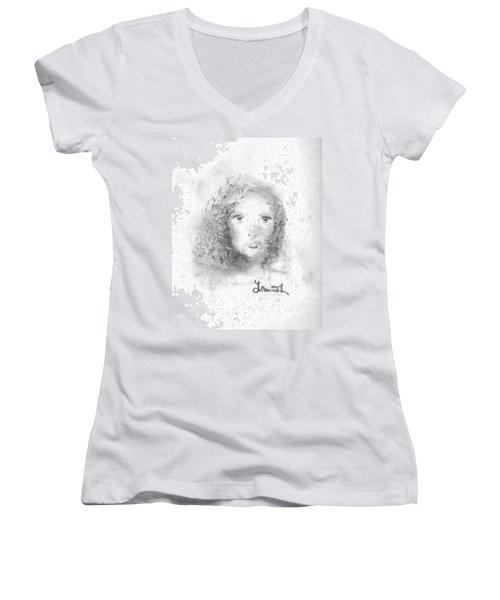 Something About Mary Women's V-Neck T-Shirt (Junior Cut) by Laurie L