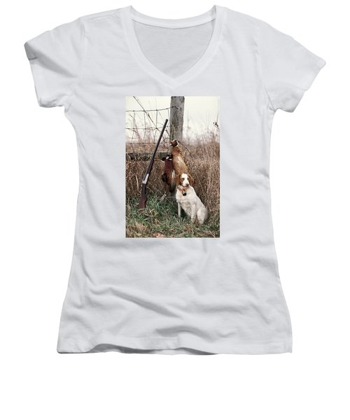 Brittany And Pheasants - Fs000757b Women's V-Neck T-Shirt (Junior Cut) by Daniel Dempster